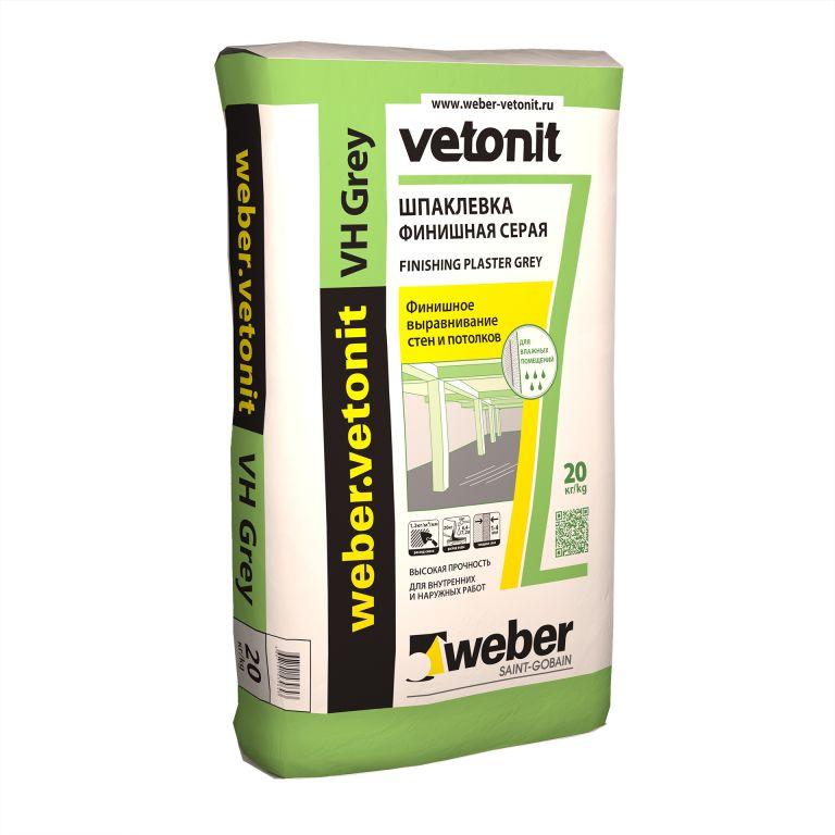 Шпаклевка финишная weber.vetonit VH grey цементная влагостойкая серая