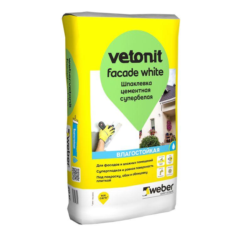 Цементная шпаклевка weber.vetonit facade white супербелая фасадная