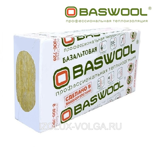 Базальтовый утеплитель BASWOOL ВЕНТ ФАСАД 70 1200х600х50мм 6 плит