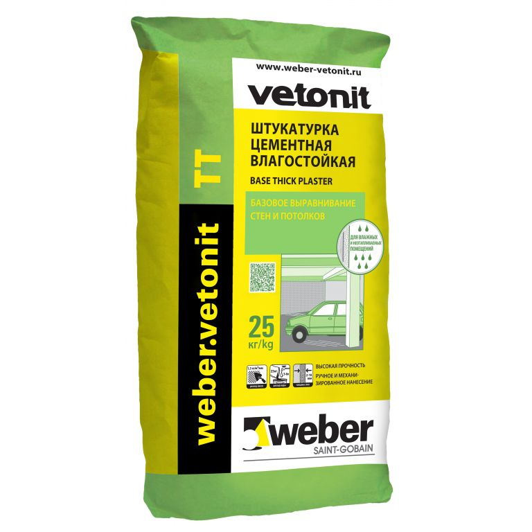 Штукатурка weber.vetonit TT цементная тонкослойная