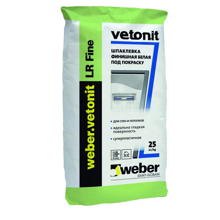 Шпаклевка weber.vetonit LR Fine суперфинишная белая