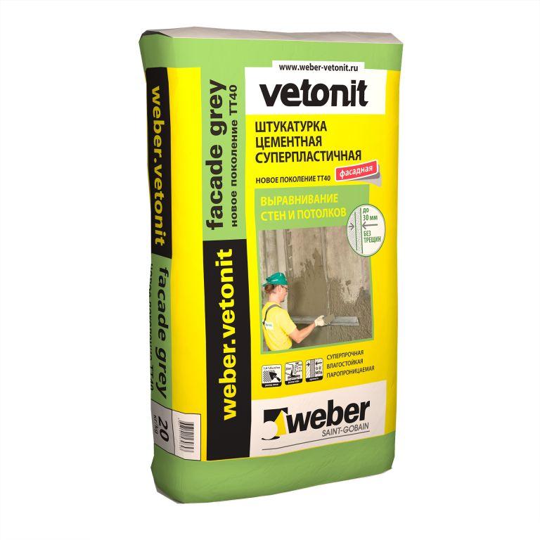 Штукатурка цементная weber.vetonit facade grey суперпластичная